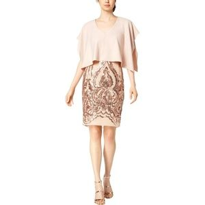 BETSY & ADAM- Womens Cape Sequined Cocktail Dress